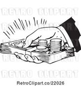 Vector Clip Art of Retro Hand Holding Cash and Coins by BestVector