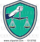 Vector Clip Art of Retro Hand Holding Scales of Justice in a Black Gray and Turquoise Shield by Patrimonio