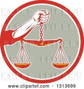 Vector Clip Art of Retro Hand Holding Scales of Justice in a Red White and Taupe Circle by Patrimonio