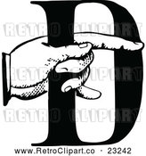 Vector Clip Art of Retro Hand Holding the Letter D by Prawny Vintage