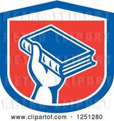 Vector Clip Art of Retro Hand Holding up a Book in a Red White and Blue Shield by Patrimonio