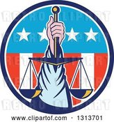 Vector Clip Art of Retro Hand Holding up Scales of Justice in a Circle of American Stars and Stripes by Patrimonio