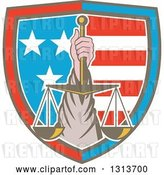 Vector Clip Art of Retro Hand Holding up Scales of Justice in a Shield of American Stars and Stripes by Patrimonio