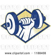 Vector Clip Art of Retro Hand Lifting a Dumbbell over a Diamond of Sun Rays by Patrimonio