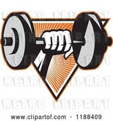 Vector Clip Art of Retro Hand Lifting a Dumbbell over a Triangle of Orange Rays by Patrimonio