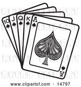 Vector Clip Art of Retro Hand of Cards Showing a 10, Jack, Queen, King and Ace of Spades by Andy Nortnik