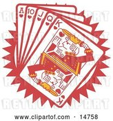 Vector Clip Art of Retro Hand of Red Playing Cards Including the Ace of Hearts, 10 of Hearts, Jack of Hearts, Queen of Hearts and King of Hearts by Andy Nortnik