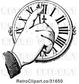 Vector Clip Art of Retro Hand Pointing to a Clock by Prawny Vintage