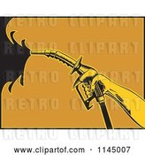 Vector Clip Art of Retro Hand Spraying Gasoline with a Nozzle by Patrimonio