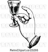 Vector Clip Art of Retro Hand Toasting with Wine by Prawny Vintage