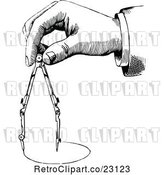 Vector Clip Art of Retro Hand Using a Drafting Compass by Prawny Vintage