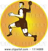 Vector Clip Art of Retro Handball Player over a Circle of Rays by Patrimonio