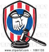 Vector Clip Art of Retro Handcuffed Convict Shield and Judge Gavel by Patrimonio