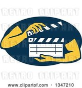 Vector Clip Art of Retro Hands Holding a Clapperboard in a Navy Blue Oval by Patrimonio