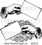 Vector Clip Art of Retro Hands Holding Business Cards by BestVector