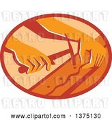 Vector Clip Art of Retro Hands of a Furniture Upholsterer Using a Hammer in an Oval by Patrimonio