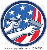 Vector Clip Art of Retro Hands of a Plasterer Repairing Drywall with Putty Knife and Hawk in an American Themed Circle by Patrimonio