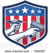 Vector Clip Art of Retro Hands of a Plasterer Repairing Drywall with Putty Knife and Hawk in an American Themed Shield by Patrimonio