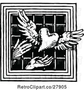 Vector Clip Art of Retro Hands Releasing a Winged Heart Through a Barred Window by Prawny Vintage