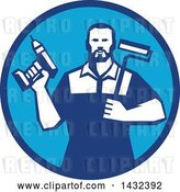 Vector Clip Art of Retro Handy Guy Holding a Paint Roller and a Cordless Drill in a Blue Circle by Patrimonio