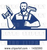 Vector Clip Art of Retro Handy Guy Holding a Paint Roller and a Cordless Drill over a Blue and White Frame by Patrimonio