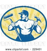 Vector Clip Art of Retro Handyman Holding a Paint Roller and Hammer Logo by Patrimonio