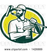 Vector Clip Art of Retro Handyman Holding a Paint Roller over His Shoulder and a Cordless Drill in Hand, Emerging from a Green Taupe White and Yellow Oval by Patrimonio