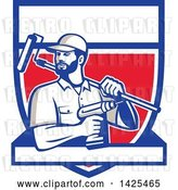 Vector Clip Art of Retro Handyman Holding a Paint Roller over His Shoulder and a Cordless Drill in Hand, Emerging from a Shield with a Blank Banner by Patrimonio