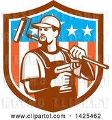 Vector Clip Art of Retro Handyman Holding a Paint Roller over His Shoulder and a Cordless Drill in Hand, Emerging from an American Themed Shield by Patrimonio