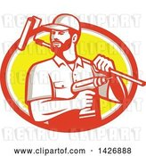 Vector Clip Art of Retro Handyman Holding a Paint Roller over His Shoulder and a Cordless Drill in Hand, Emerging from an Orange Gray White and Yellow Oval by Patrimonio
