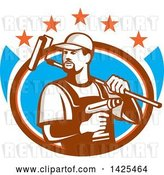 Vector Clip Art of Retro Handyman Holding a Paint Roller over His Shoulder and a Cordless Drill in Hand, Emerging from an Oval with Stars by Patrimonio