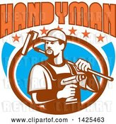 Vector Clip Art of Retro Handyman Holding a Paint Roller over His Shoulder and a Cordless Drill in Hand, Emerging from an Oval with Stars Under Text by Patrimonio