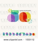 Vector Clip Art of Retro Happy 50th Anniversary Design with Numbers, on Beige by Elena