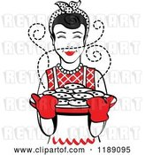 Vector Clip Art of Retro Happy Black Haired Housewife Holding Freshly Baked Cookies 2 by Andy Nortnik