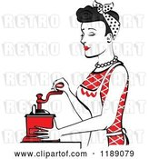 Vector Clip Art of Retro Happy Black Haired Housewife Using a Manual Coffee Grinder in Profile 2 by Andy Nortnik