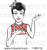 Vector Clip Art of Retro Happy Black Haired Housewife, Waitress or Maid Lady Wearing an Apron and Presenting 2 by Andy Nortnik