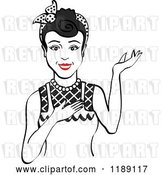 Vector Clip Art of Retro Happy Black Haired Housewife, Waitress or Maid Lady Wearing an Apron and Presenting by Andy Nortnik