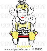 Vector Clip Art of Retro Happy Blond Housewife Holding Freshly Baked Cookies 2 by Andy Nortnik