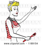 Vector Clip Art of Retro Happy Blond Housewife Singing and Holding a Spoon in the Kitchen by Andy Nortnik