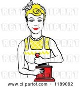 Vector Clip Art of Retro Happy Blond Housewife Using a Manual Coffee Grinder 2 by Andy Nortnik