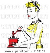 Vector Clip Art of Retro Happy Blond Housewife Using a Manual Coffee Grinder in Profile by Andy Nortnik