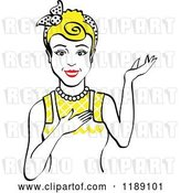 Vector Clip Art of Retro Happy Blond Housewife, Waitress or Maid Lady Wearing an Apron and Presenting 2 by Andy Nortnik