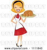 Vector Clip Art of Retro Happy Blond Lady Carrying a Roasted Thanksgiving or Christmas Turkey on a Platter by Amanda Kate