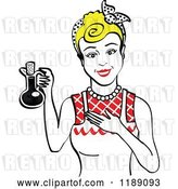 Vector Clip Art of Retro Happy Blond Lady in an Apron, Holding up a Bottle of Cooking Oil 2 by Andy Nortnik