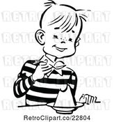 Vector Clip Art of Retro Happy Boy Eating Dessert by Prawny Vintage