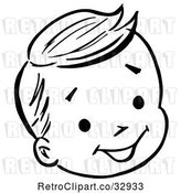 Vector Clip Art of Retro Happy Boy Face in by Picsburg