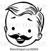 Vector Clip Art of Retro Happy Boy Face with a Mustache in by Picsburg