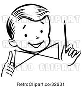Vector Clip Art of Retro Happy Boy Holding a Pencil, in by Picsburg