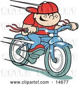 Vector Clip Art of Retro Happy Boy Riding a Brand New Blue Bike Clipart Illustration by Andy Nortnik