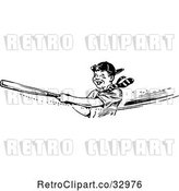 Vector Clip Art of Retro Happy Boy Swinging a Baseball Bat by Picsburg